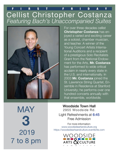 First Friday in Woodside features cellist Christopher Costanza on May 3