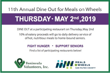 11th Annual Dine out for Meals on Wheels on May 2