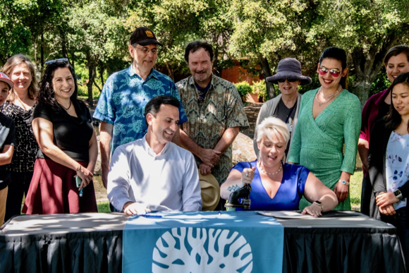 Earth Day in Menlo Park is noted with a ceremony to celebrate the city's Climate & Sustainability Resolution