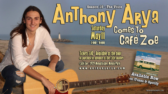 Anthony Arya performing live in Menlo Park on May 11