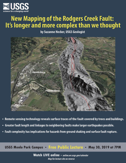 USGS public lecture on May 30 examines mapping of Rodgers Creek Fault