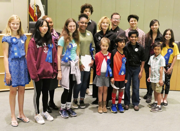 "Spotted: ""If I were a book"" youth poetry winners at Menlo Park City Hall"