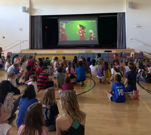 Spotted: Oak Knoll students cheering on former Otters in winning World Cup match