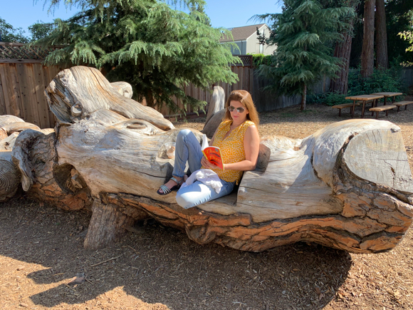 Spotted: Summer reading on comfy carved tree in Fremont Park