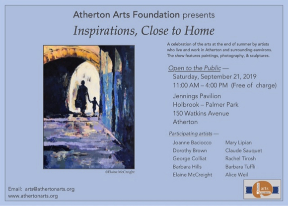 """Inspirations Close to Home"" is theme of Atherton Arts Foundation exhibit on Sept. 21"