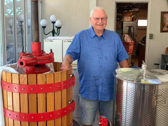 Bill Peterson makes Zinfandel wine from his home-based operation