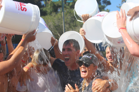 Menlo School Water Polo does #ALSIceBucketChallenge in support of M-A parent