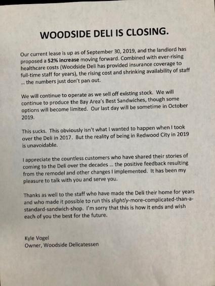 Sad news that Woodside Deli is closing
