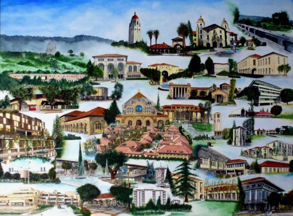 Spotted: Painting of Stanford University on display at Marcela's Village Gallery