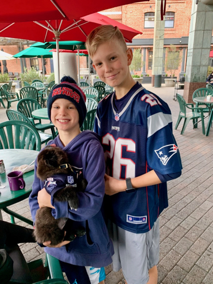 Patriot fandom on display this morning at Cafe Borrone