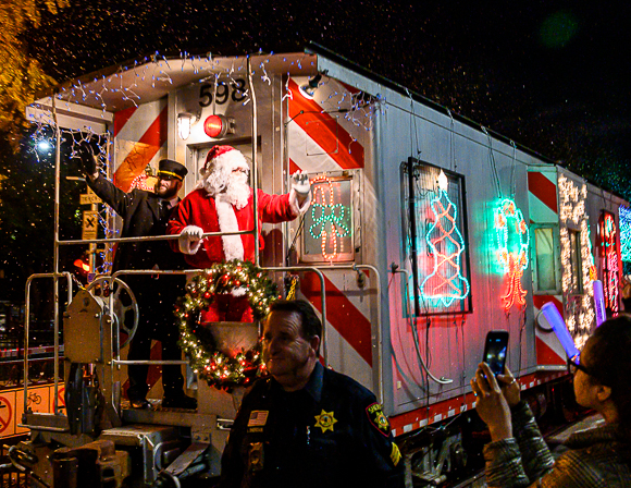 Holiday train makes its annual appearance at Menlo Park Caltrain station