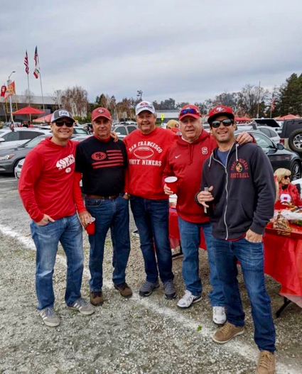 Bob Budelli and crew cheer the 49ers on to victory over Green Bay