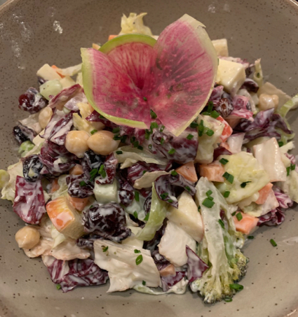 Spotted: Pretty apple and cranberry chopped salad at Oak + Violet