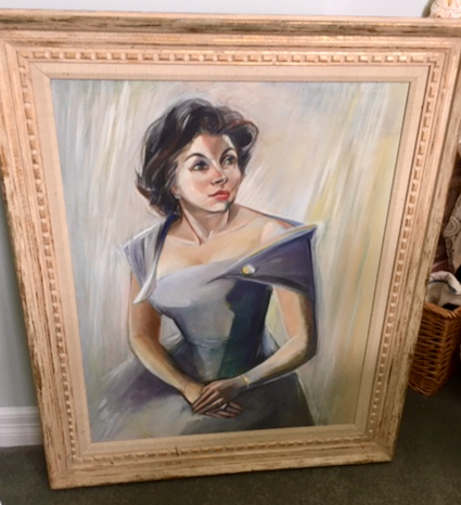 Can you identify the woman in this painting which was framed in Menlo Park?