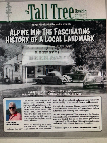 Menlo Park Historical Association is co-sponsor of talk about Alpine Inn on March 8