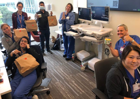 Initial Meals of Gratitude dinners delivered to Stanford hospital workers