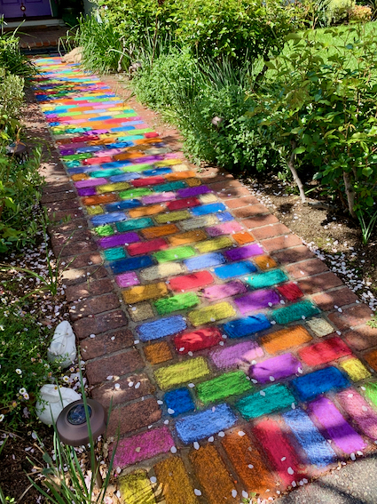 Neighborhood walking: Bright and cheerful walkway on Corinne Dr.