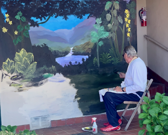 Spotted: Artist Ron Silzer painting a new mural