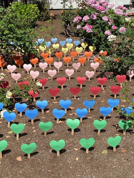 "Spotted: ""Garden"" of cheery hearts on Oak Dell Drive"