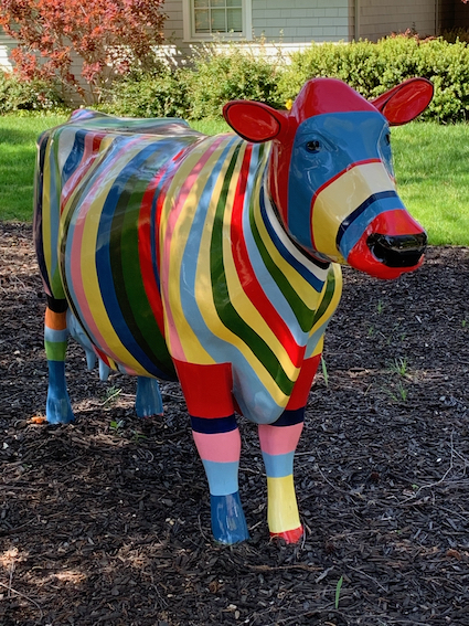 Neighborhood walking: Colorful cow is new addition to Lindenwood front yard