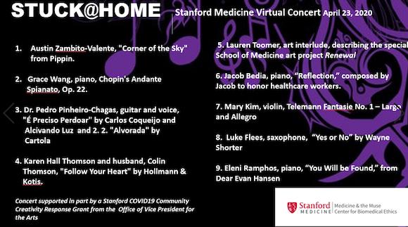 Stanford Medicine Stuck@Home virtual concert set for Thursday, April 23