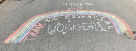 "Spotted: Signs-of-the-Times: ""Thank you essential workers"" with a rainbow"