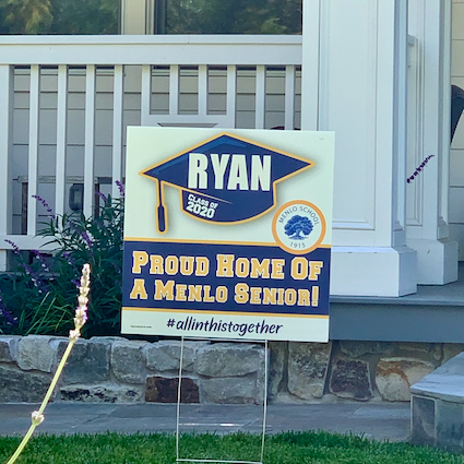 """Spotted: Signs-of-the-time: """"Proud Home of a Menlo Senior"""""""