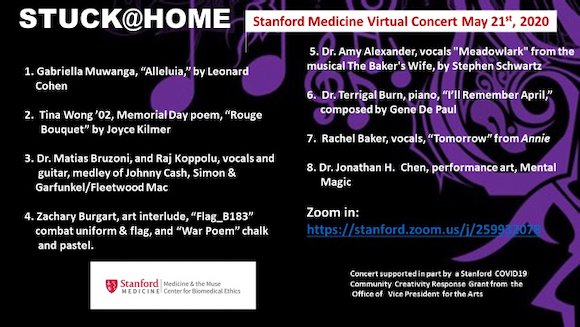 Leonard Cohen, Annie, Memorial Day & Magic: Join us for the 9th Stanford Stuck@Home Concert on May 21