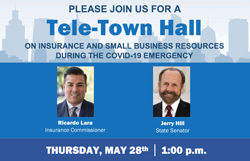 State Senator Jerry Hill and California Insurance Commissioner host telephone town hall on May 28