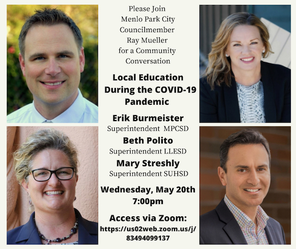 Local school officials and Menlo Park city council member discuss education during COVID-19 on May 20