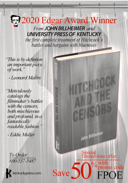 Update on John Billheimer's award-winning book Hitchcock and the Censors