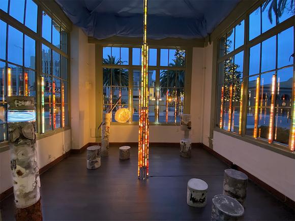 "Artist Tara de la Garza  ""Monument to the Plastocene IV""  solo art installation on view at Art Kiosk"