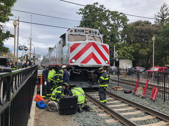 Elderly man rescued after being pinned under Caltrain locomotive at Menlo Park train station