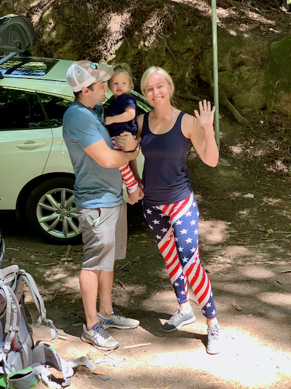 Spotted: Mom and baby decked out 4th of July hiking tights