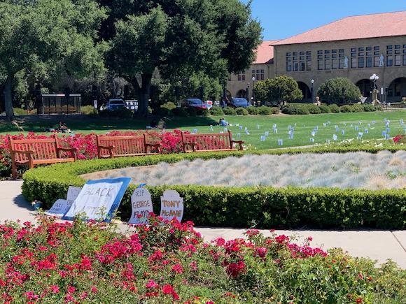 Black Lives Matter memorial on the quad at Stanford University