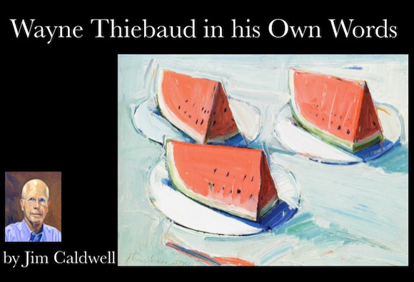 Artist Jim Caldwell gives presentation about Wayne Thiebaud's work on August 20
