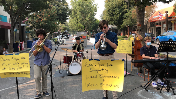 High school and middle school bandmates reunite to bring jazz to downtown Menlo Park