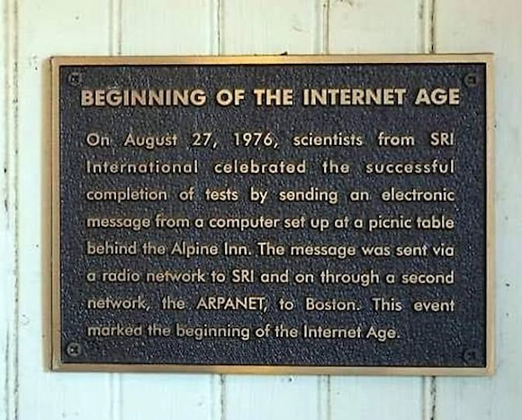 Spotted: Plaque commemorating the launch of the internet age at Zott's