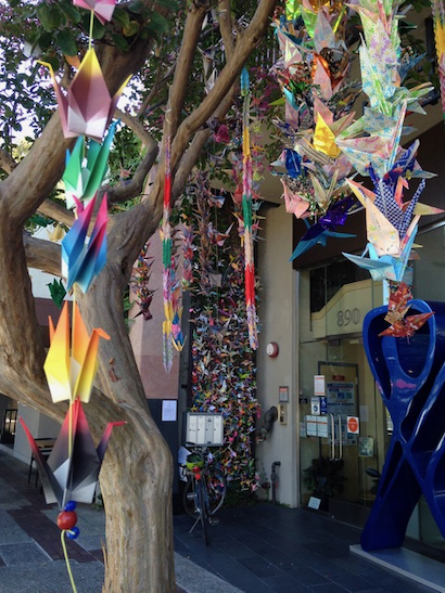 Over 1,000 paper peace cranes on display in downtown Menlo Park
