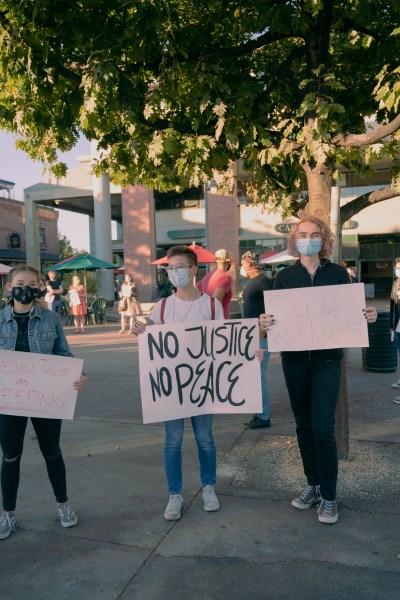 protesters in Menlo Park