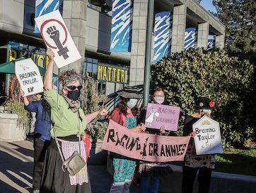 Raging Grannies participate in rally/march in reaction to lack of indictment in Breonna Taylor murder