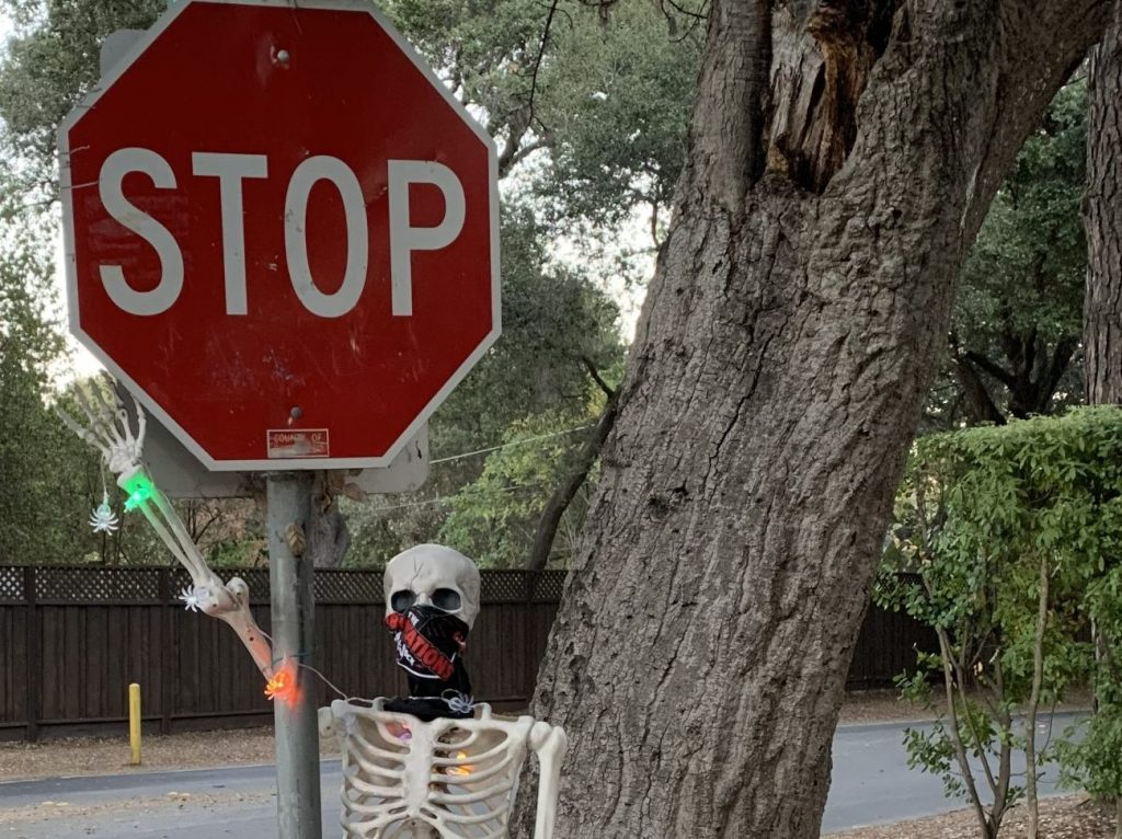Spotted: Skeleton urging you to stop