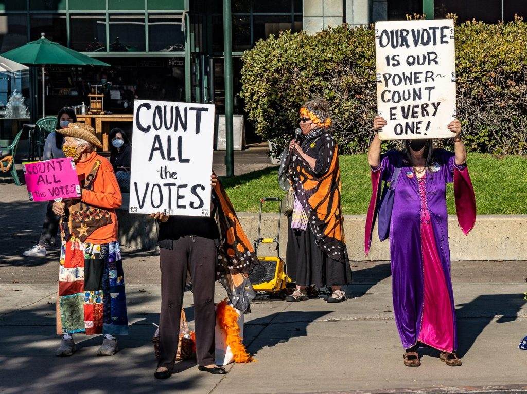 Raging Grannies rally to protect the vote in upcoming election