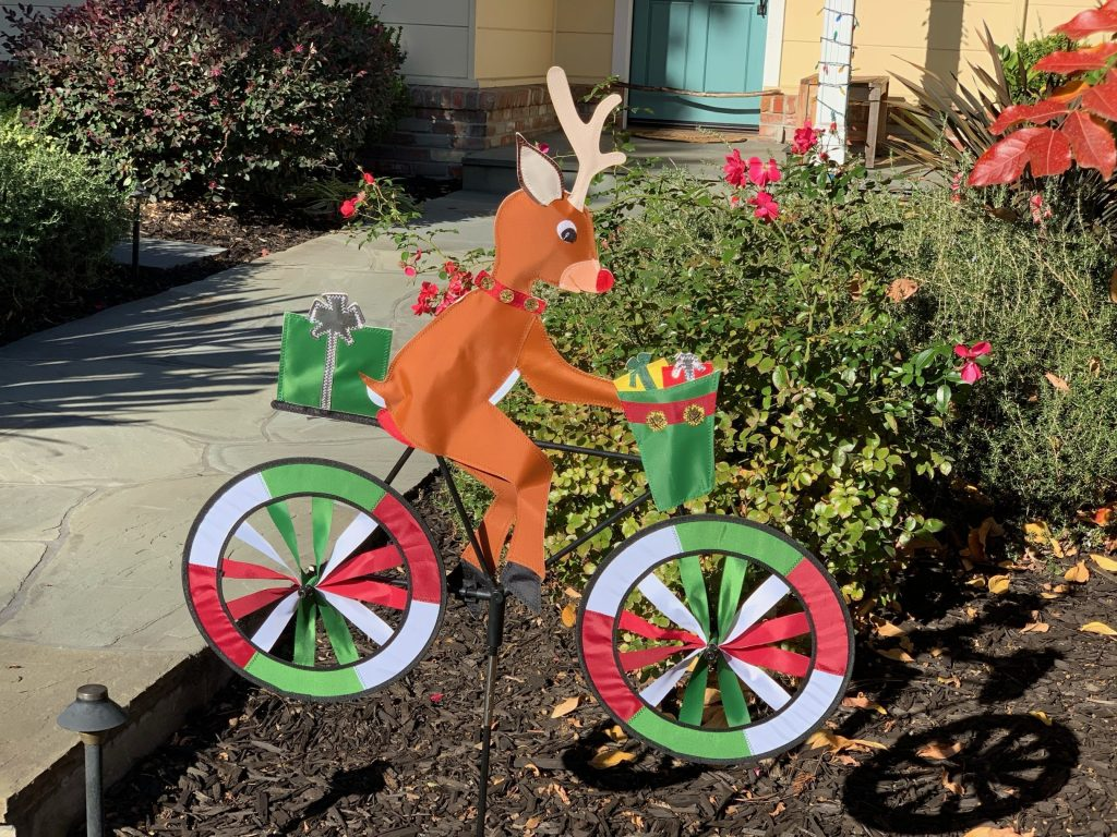 Spotted: Jaunty Rudolph the red-nosed reindeer on a bike