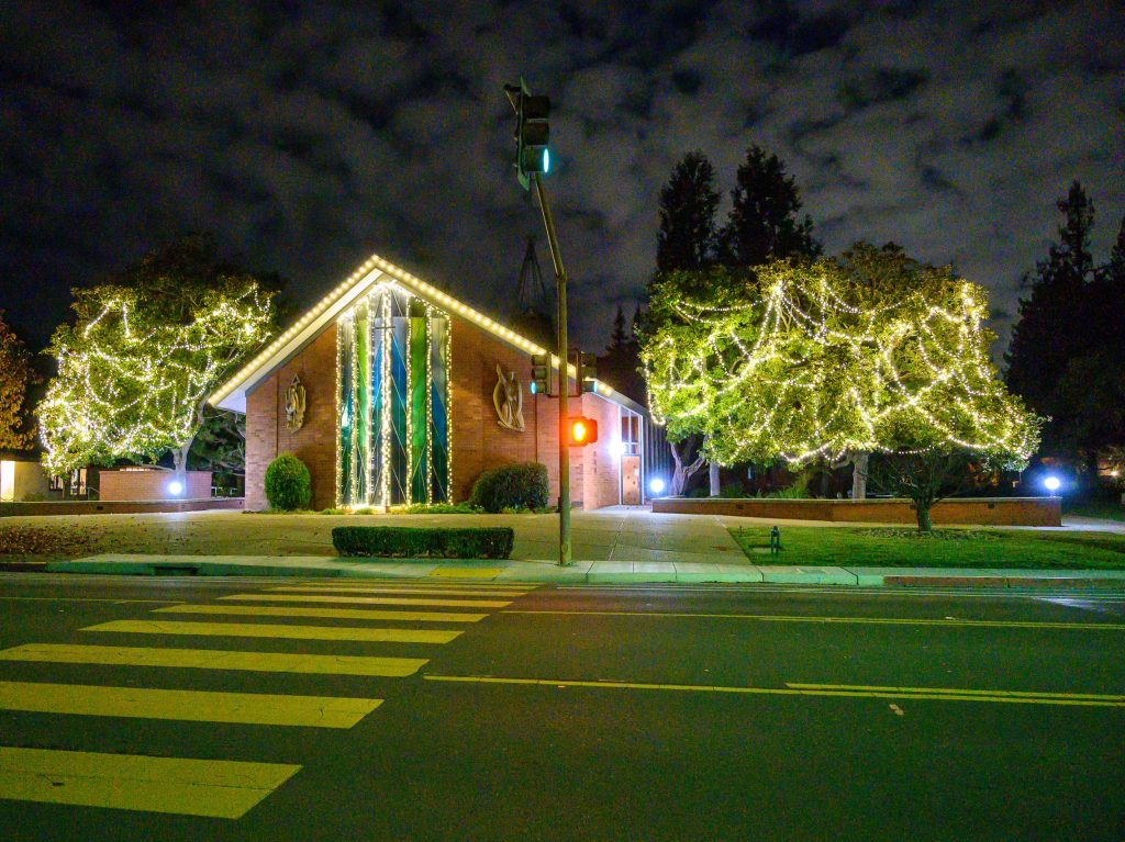 Fremont Park and St. Raymond Church trees light up downtown Menlo Park
