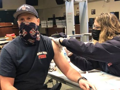Menlo Park Fire District  front line firefighters vaccinated for COVID-19