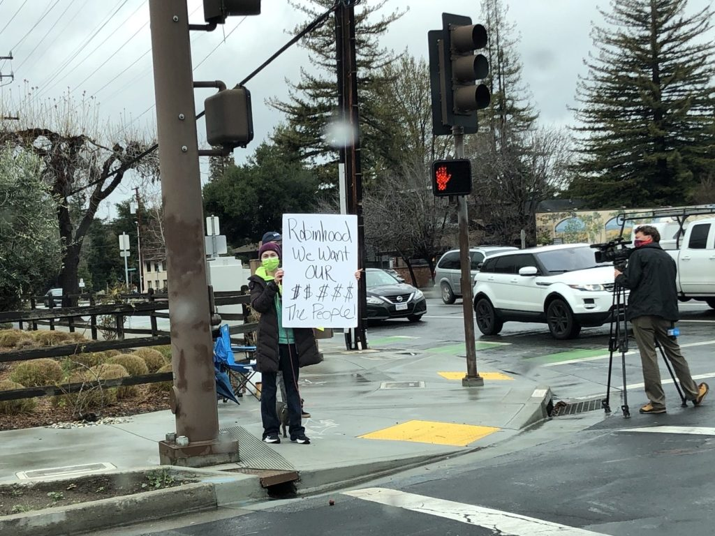 Spotted: Protesters outside Robinhood headquarters in Menlo Park