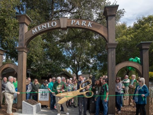 Historical storyboard takes its place by Menlo Gates on St. Patricks Day 2021
