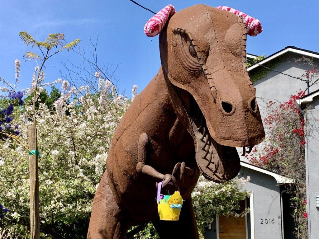 Spotted: Big dino, little Easter basket