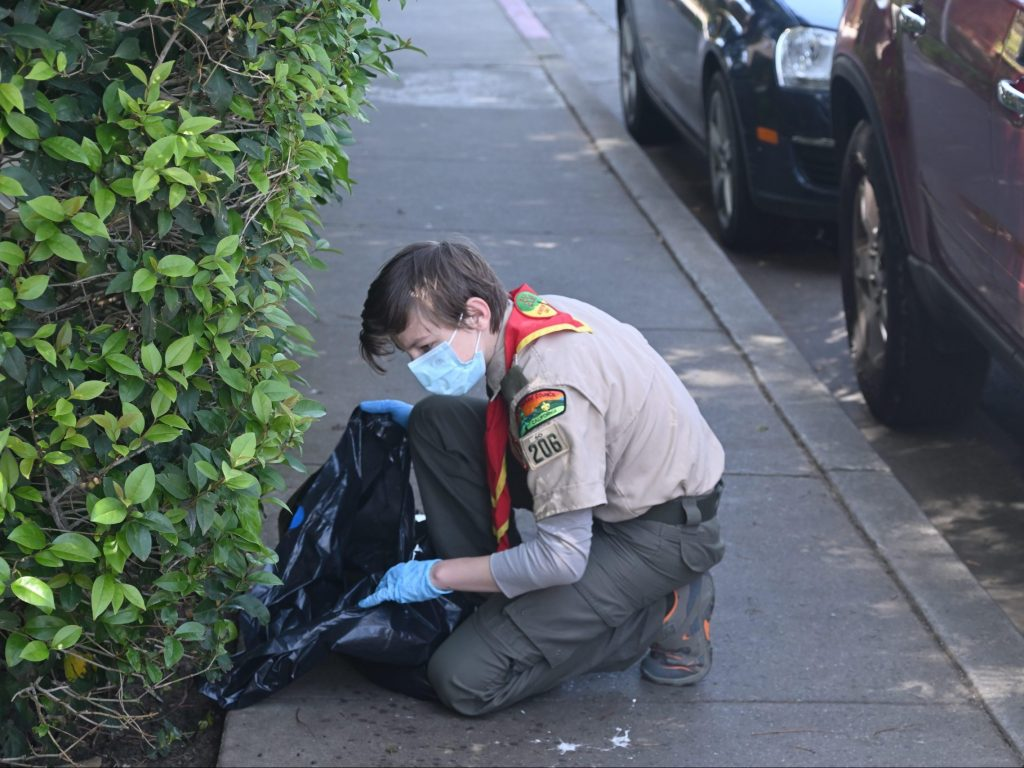 Boy Scout Troop 206 pivots to trash pick up as a fundraiser